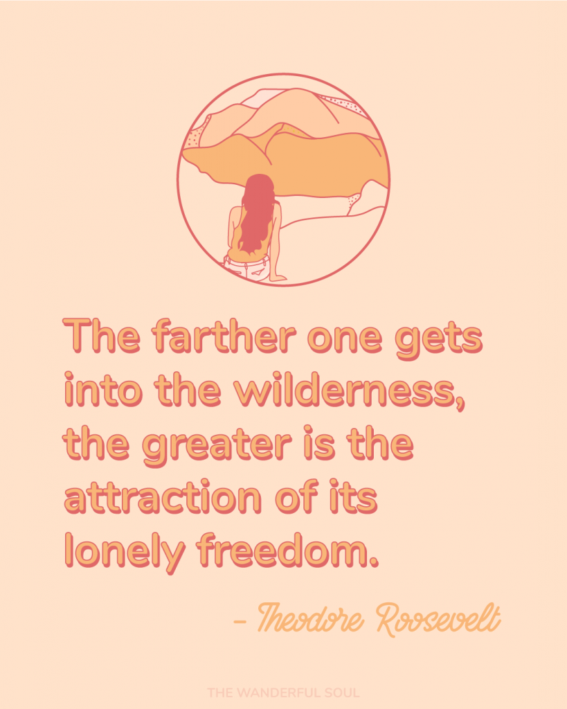 The further one gets into the wilderness, the greater is the attraction to its lonely freedom | Inspiration - Theodore Teddy Roosevelt Quote - The Wanderful Soul