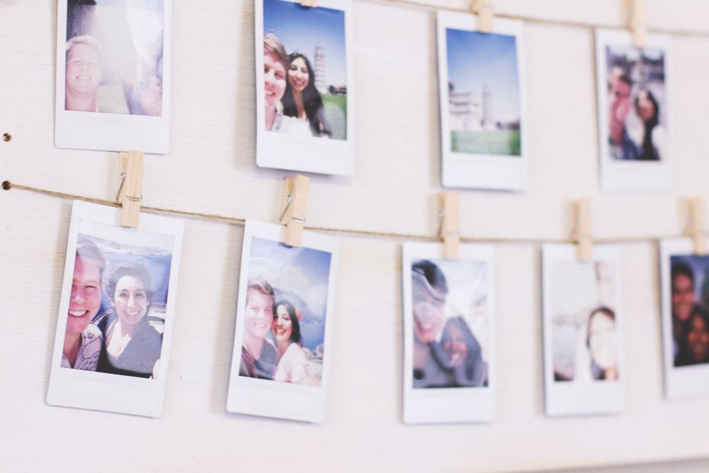 DIY Bohemian Home | Distressed Clothespin Polaroid Photo Display