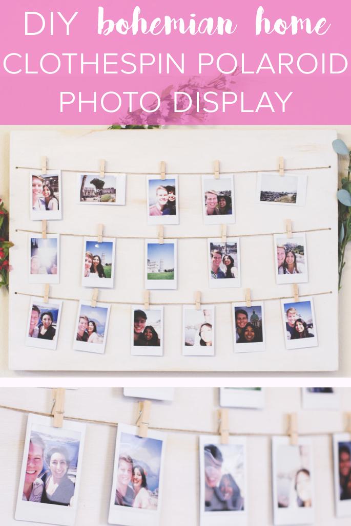 DIY Distressed Clothespin Polaroid Photo Display