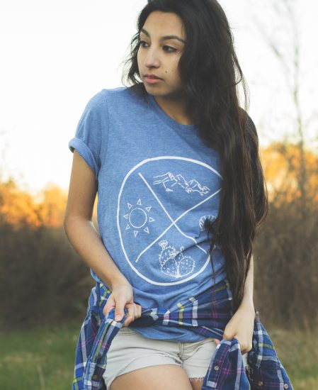 four corners tee blue - travel tee- the Wanderful soul