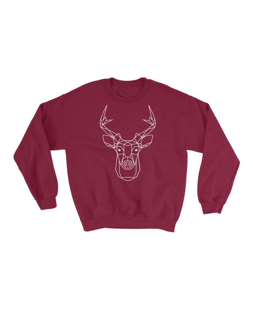 Geometric Deer Totem Pullover Sweater