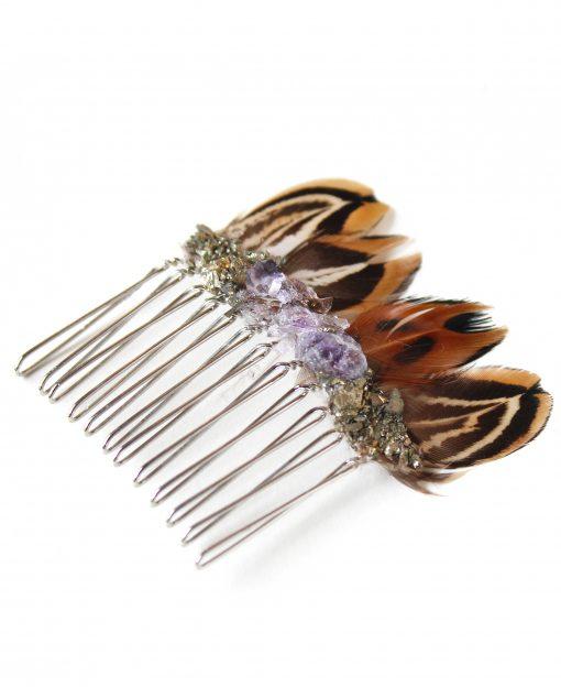 sahasrara hair comb pyrite amethyst feather