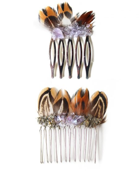 sahasrara hair comb pyrite amethyst feather