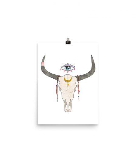 Fortune Cow Skull Print