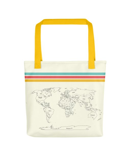 Color Your World Map Tote Bag - The Wanderful Soul