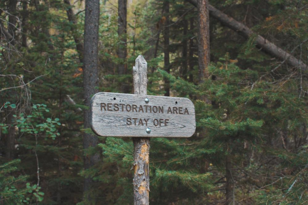 Restoration Area Sign | Giving Back - National Park Foundation - The Wanderful Soul